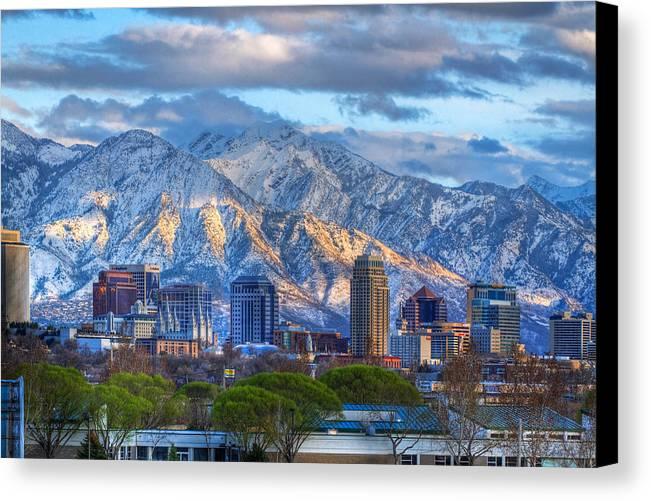 Salt Canvas Print featuring the photograph Salt Lake City Utah Usa by Utah Images