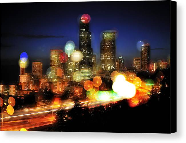 Seattle Canvas Print featuring the photograph Seattle Color Spots C086 by Yoshiki Nakamura