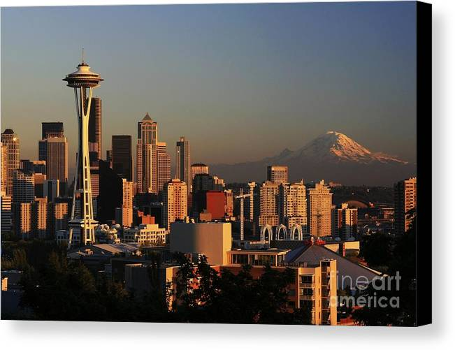 Seattle Sunset Cityscape Evening City Rainier Canvas Print featuring the photograph Seattle Equinox by Winston Rockwell