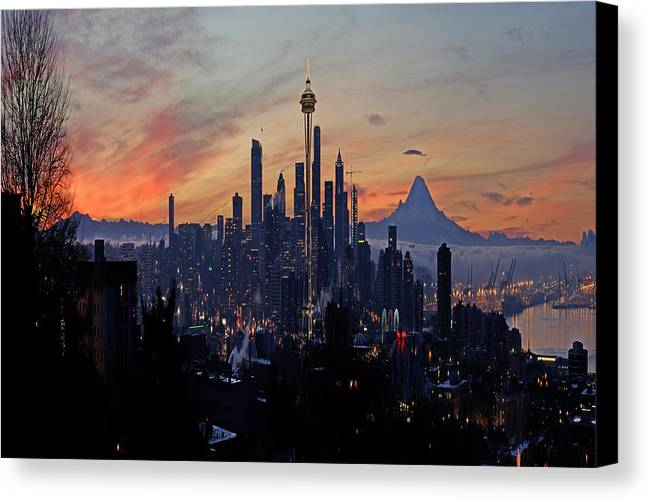 Seattle Canvas Print featuring the photograph Seattle Fantasia A073 by Yoshiki Nakamura
