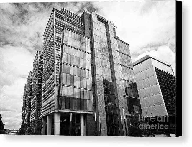 Office Canvas Print featuring the photograph snowhill office development in new financial area of Birmingham UK by Joe Fox