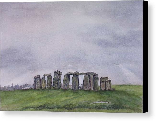 Stonehenge Canvas Print featuring the painting Stonehenge by Debbie Homewood
