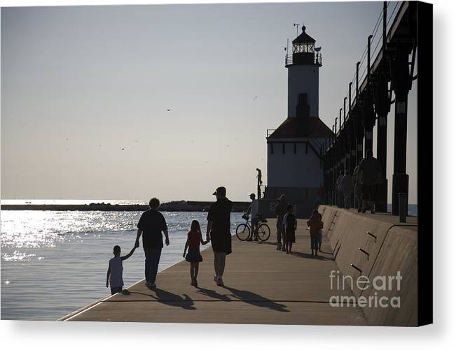 Lighthouse Canvas Print featuring the photograph Stroll by Jeannie Burleson