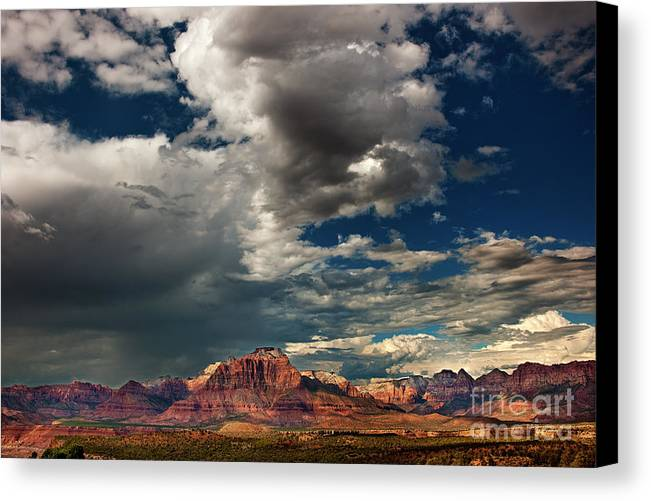 Davw Welling Canvas Print featuring the photograph Summer Thunderstorm Clouds Form Over West Temple Zion National Park Utah by Dave Welling