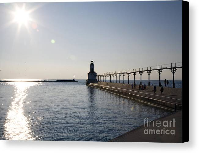 Lake Michigan Canvas Print featuring the photograph Sunset On Lake Michigan by Jeannie Burleson