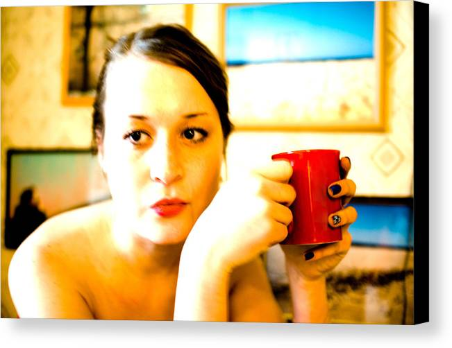 The Girl Canvas Print featuring the photograph The Girl With A Red Cup by Vadim Grabbe