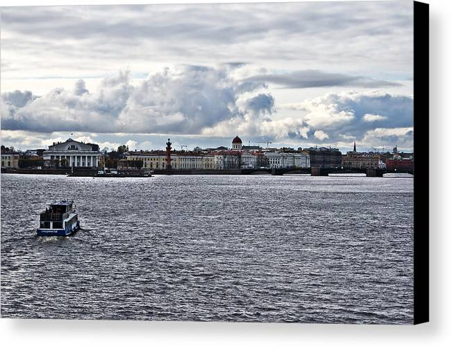 The River Canvas Print featuring the photograph The River The Sky And Is A Little City by Vadim Grabbe