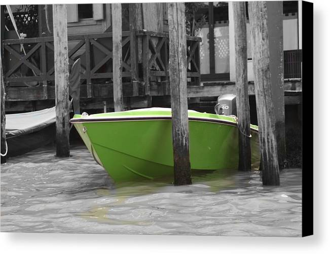 Italy Canvas Print featuring the photograph Venice Canals Green Boat by Greg Sharpe