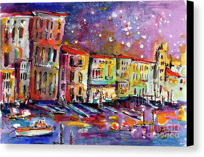 Italy Canvas Print featuring the painting Venice Reflections Celebrating Italy Painting by Ginette Callaway