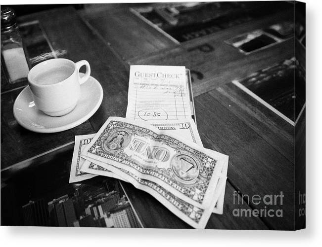 Bill With Cash And Tip In A Cuban Restaurant Miami South Beach Florida Usa Canvas Print