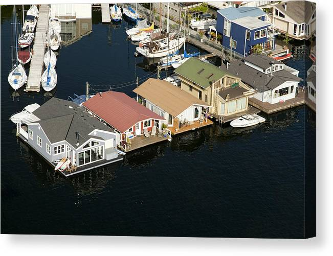 America Canvas Print featuring the photograph Portage Bay And Houseboats, Seattle by Andrew Buchanan/SLP
