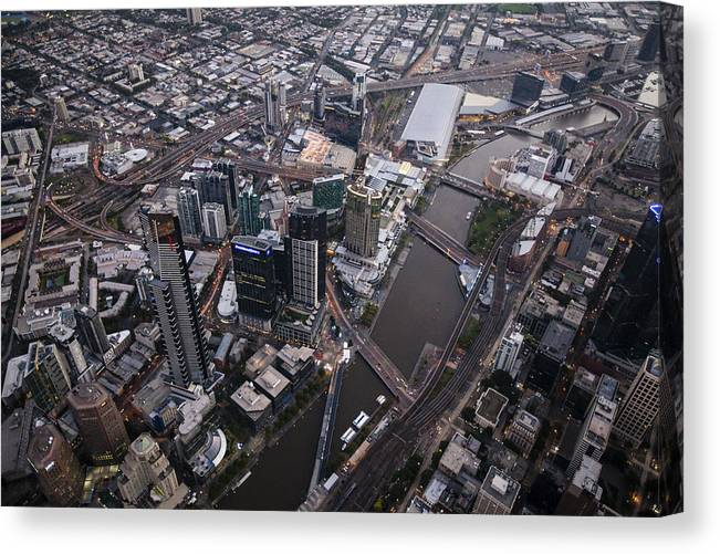 Australia Canvas Print featuring the photograph Skyskrapers At Federation Square by Brett Price