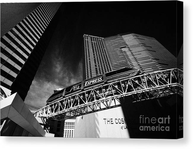 the aria express monorail transport outside the cosmopolitan hotel and  casino Las Vegas Nevada USA Canvas Print