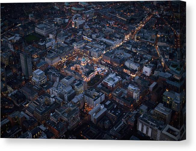 Belfast Canvas Print featuring the photograph Belfast At Night, Northern Ireland by Colin Bailie