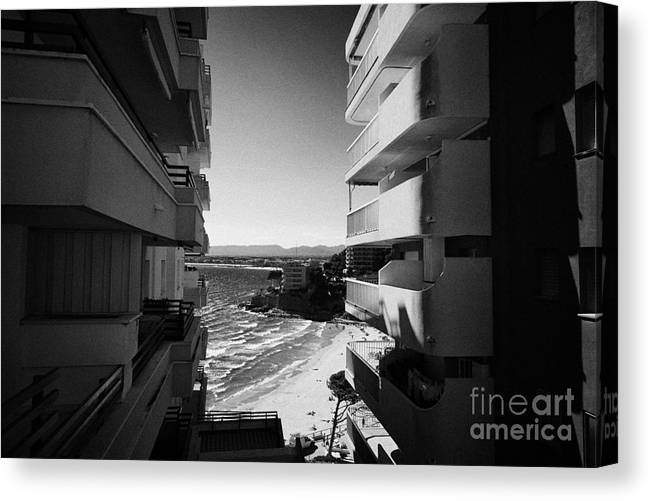 Salou Canvas Print featuring the photograph Densely Packed Salou Waterfront Properties On The Costa Dorada Catalonia Spain by Joe Fox