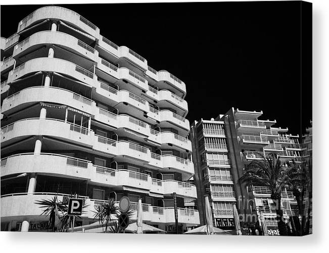 Salou Canvas Print featuring the photograph Salou Waterfront Properties On The Costa Dorada Catalonia Spain by Joe Fox