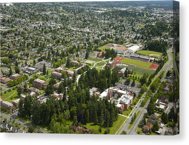 America Canvas Print featuring the photograph University Of Puget Sound U.p.s., Tacoma by Andrew Buchanan/SLP