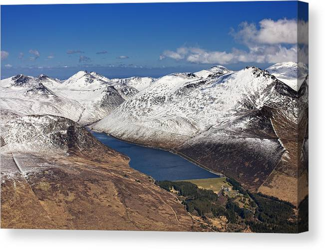 Canvas Print featuring the photograph Snow Covered Mourne Mountains by Colin Bailie