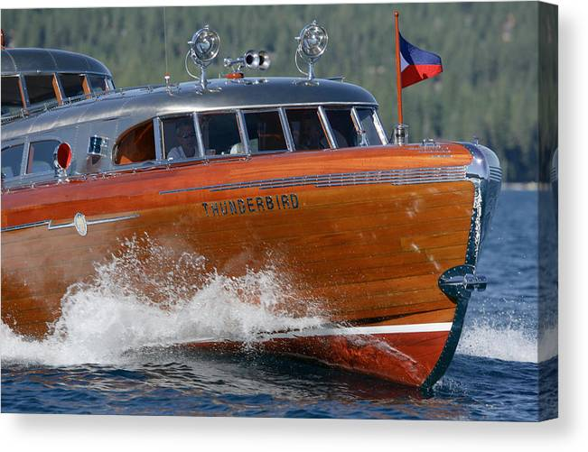 Wood Canvas Print featuring the photograph Thunderbird Yacht by Steven Lapkin