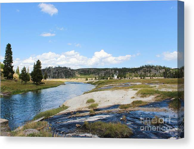 Yellowstone Canvas Print featuring the photograph Blues And Greens Of Yellowstone by Kathleen Garman