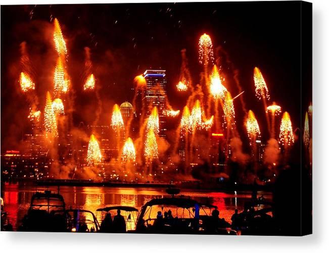 Boston Canvas Print featuring the photograph Boston Fireworks Firepower by John B Poisson