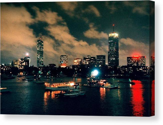 Boston Canvas Print featuring the photograph Boston With Rain And Clouds At Night by John B Poisson
