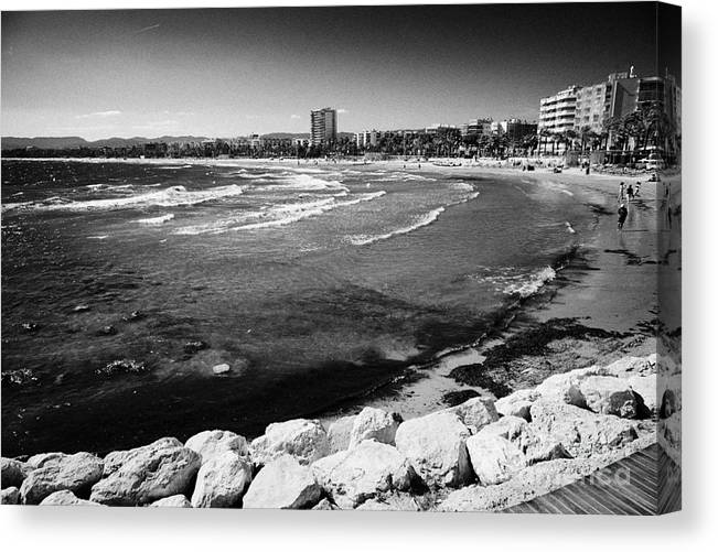 Salou Canvas Print featuring the photograph Defensive Breakwater At Els Pilons On The Costa Dorada Catalonia Spain by Joe Fox