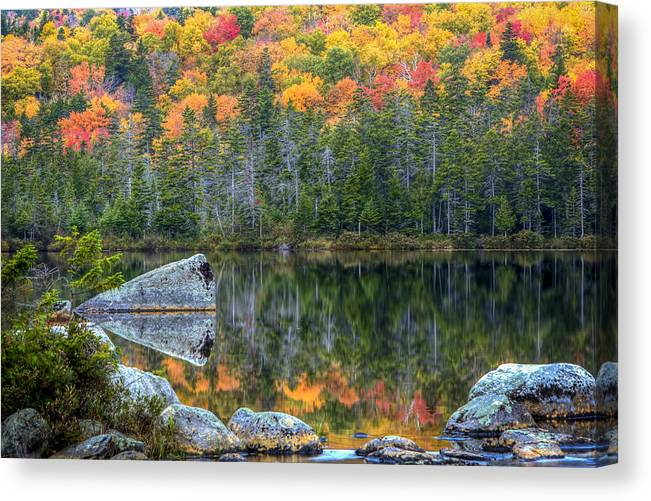 Sandy Stream Canvas Print featuring the photograph Fall At Sandy Stream Pond by Dave Cleaveland