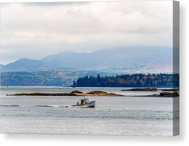 Frenchman Bay Maine Sullivan Hancock Cadillac Mountain Mount Desert Island Acadia National Park Bar Harbor Lobster Boat Water Traps Pots Autumn Fall Color Trees Fog Clouds Canvas Print featuring the photograph Frenchman Bay by Tim Sullivan