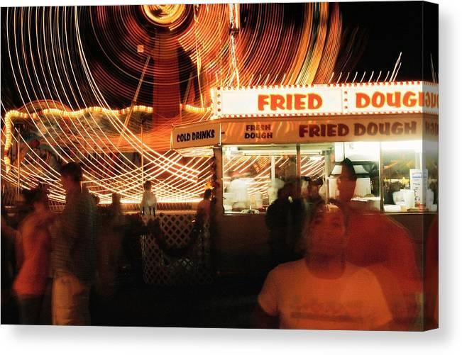 Fryeburg Canvas Print featuring the photograph Fryeburg Fair At Night Fried Dough by John B Poisson