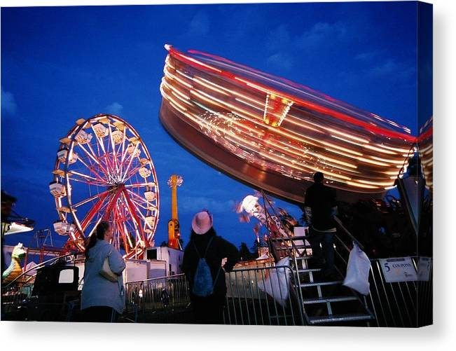 Fryeburg Canvas Print featuring the photograph Fryeburg Fair At Night Watching The Round-up by John B Poisson