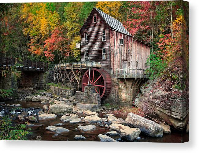 Letterman's Canvas Print featuring the photograph Glade Creek Grist Mill 3 by Emmanuel Panagiotakis