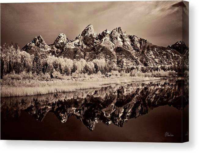 Grand Teton Canvas Print featuring the photograph Infrared Sepia Grand Teton National Park by Christine Hauber