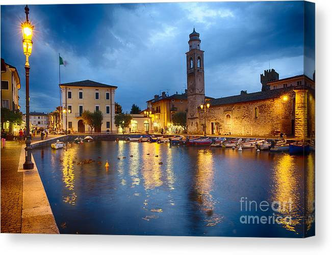 Lake Garda Canvas Print featuring the photograph Lazise Harbor Night Scenic by George Oze