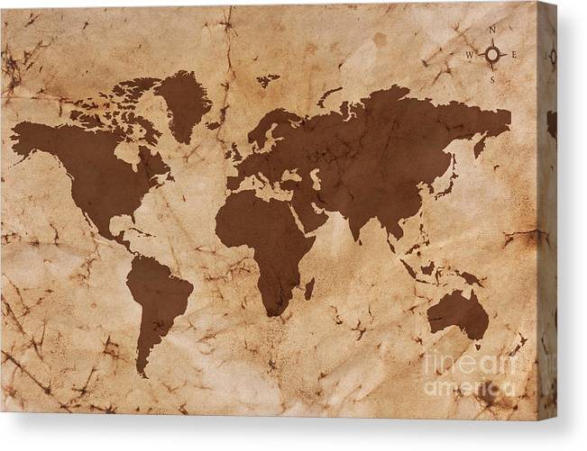 Old World Map Canvas.Old World Map On Creased And Stained Parchment Paper Canvas Print