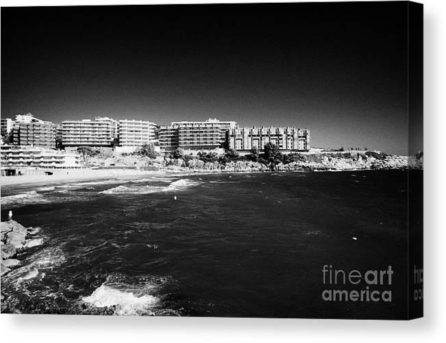 Salou Canvas Print featuring the photograph Playa De Cappellans And Salou Waterfront Properties On The Costa Dorada Catalonia Spain by Joe Fox