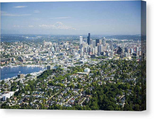 America Canvas Print featuring the photograph Queen Anne Hill, Lake Union, City by Andrew Buchanan/SLP