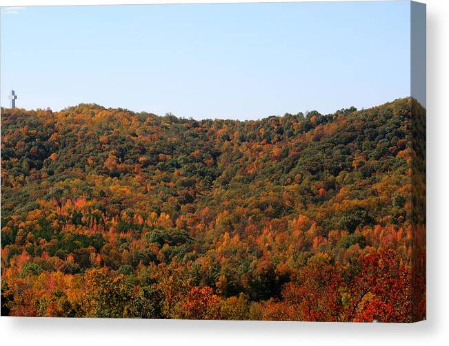 Bald Knob Canvas Print featuring the photograph Rugged Cross At Bald Knob by DD Edmison