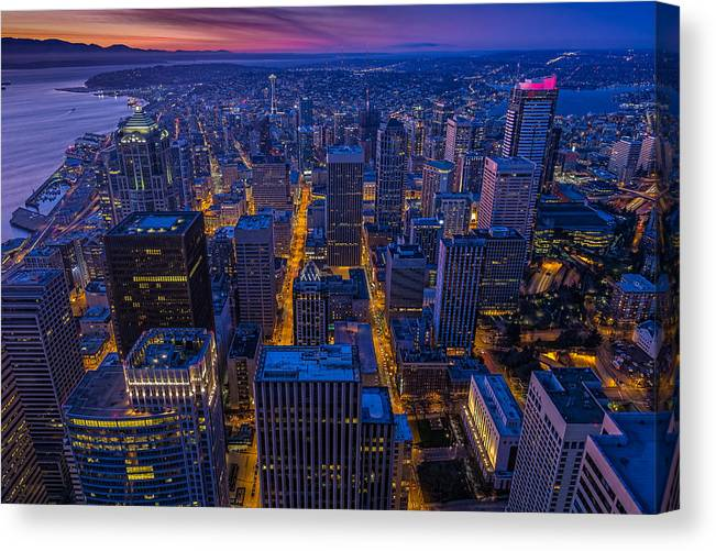 Seattle Canvas Print featuring the photograph Seattle Sunset by Thomas Hall