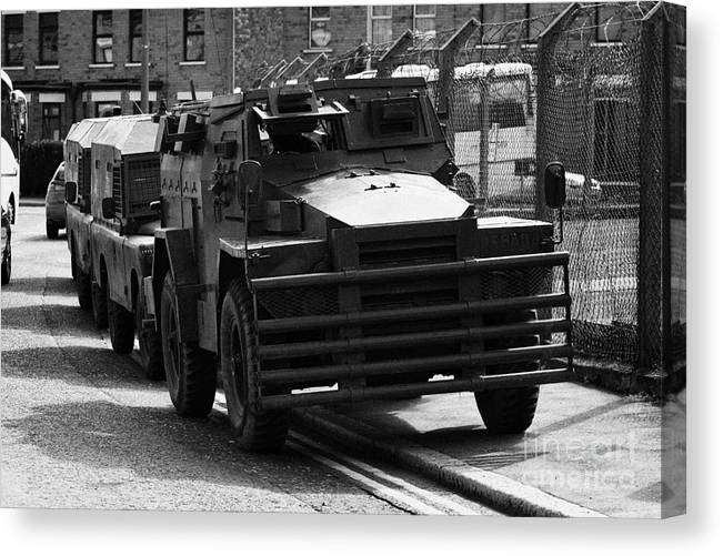 68ba6cb946 Ireland Canvas Print featuring the photograph British Army Humber Pig Vehicle  Belfast Northern Ireland Street by