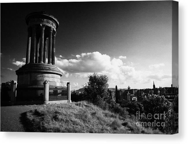 Calton Canvas Print featuring the photograph Dugald Stewart Monument Calton Hill With View Of Edinburgh Skyline Scotland Uk United Kingdom by Joe Fox