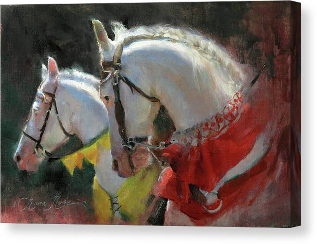 Horses Canvas Print featuring the painting All The King's Horses by Anna Rose Bain