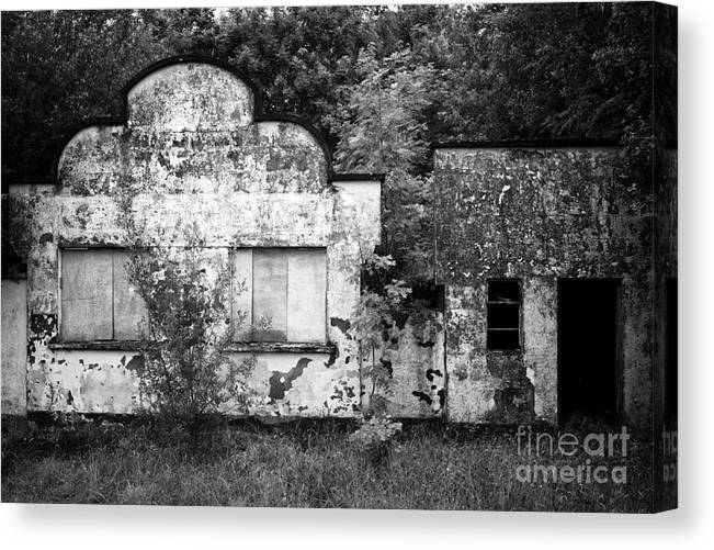 Abandonded Canvas Print featuring the photograph Abandoned Roadside Shops On Rural Road In County Fermanagh Northern Ireland Uk by Joe Fox