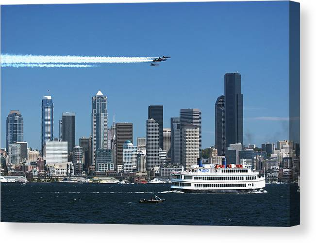 Seattle Canvas Print featuring the photograph Blue Angels Over Seattle D028 by Yoshiki Nakamura