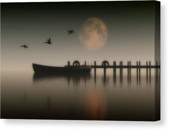 Animal Canvas Print featuring the painting Boat On A Lake With Geese Flying Over by Jan Keteleer