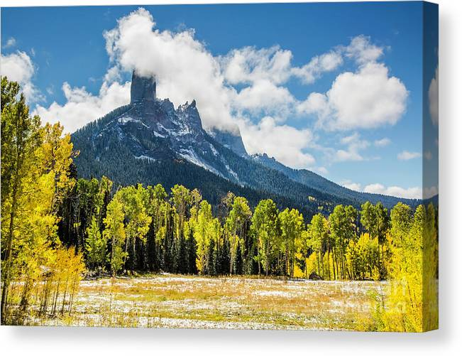 Autumn Canvas Print featuring the photograph Chimney Rock Autumn by Daryl L Hunter