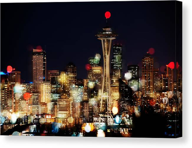 Seattle Canvas Print featuring the photograph Earth Hour Spots A354 by Yoshiki Nakamura
