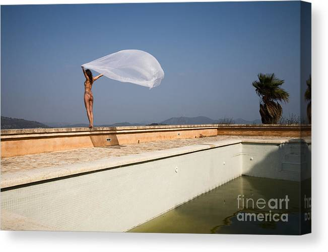 Sensual Canvas Print featuring the photograph I Will Fly To You by Olivier De Rycke