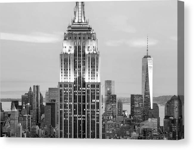 Empire State Building Canvas Print featuring the photograph Iconic Skyscrapers by Az Jackson