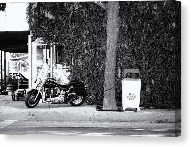 Motorcycle Canvas Print featuring the photograph Motorcycle In Big Spring Tx by Troy Montemayor